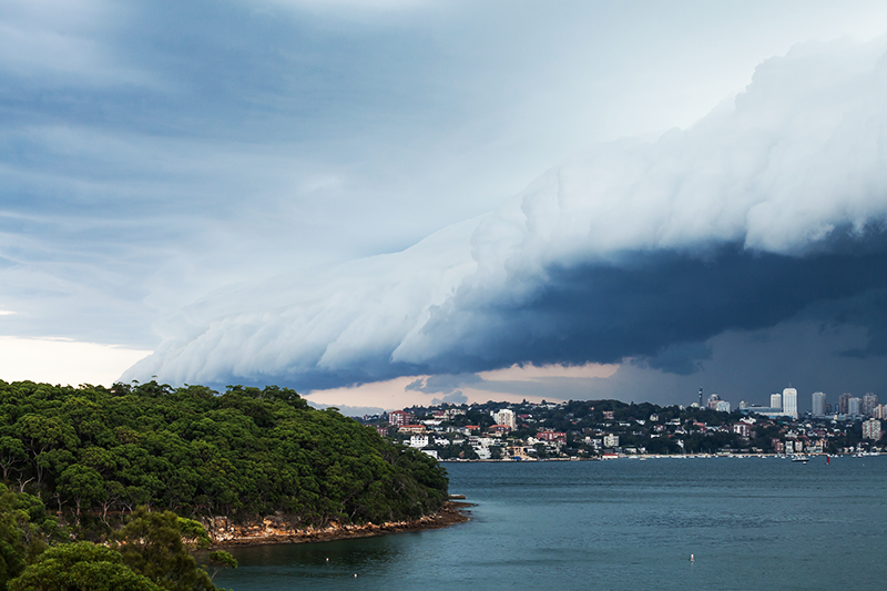 Storm cloud roll in sydney harbour